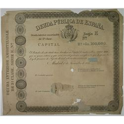 Deuda Publica de Espana, 1851 (1861 written in pencil) Proof Bond From Perkins-Bacon Archives.
