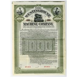 Westinghouse Machine Co., 1900 Specimen Bond