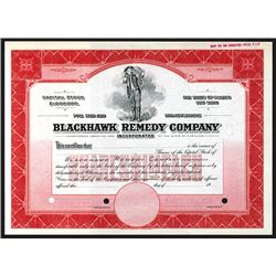 Blackhawk Remedy Co. 1900-1920 Specimen Stock Certificate.