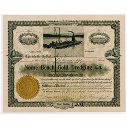Nome Beach Gold Dredging Co. 1910 I/U Stock Certificate.