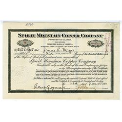 Spirit Mountain Copper Co. (property in Alaska) 1911 Stock Certificate