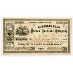 Consolidated Hidden Treasure Co., 1874 Stock Certificate.