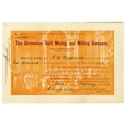 Coronation Mining and Milling Co., 1902 I/U Cripple Creek Stock Certificate.