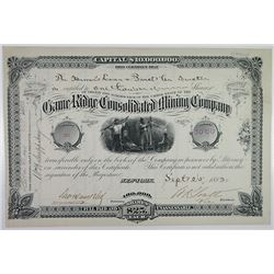 Game Ridge Consolidated Mining Co., 1882 Issued Stock Certificate