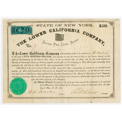 Lower California Company, 1868, 7% Bond Signed by Richard Schell as President