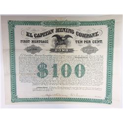 El Capitan Mining Co. 1882 Coupon Bond.