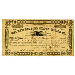 New Bedford Silver Mining  Co. of Utah, 1881 I/U Stock Certificate.
