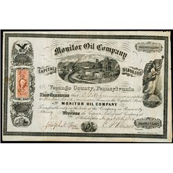 Monitor Oil Co. 1865 I/U Oil Company Stock Certificate.