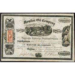 Monitor Oil Co. 1865 I/U Oil Company Stock Certificate.