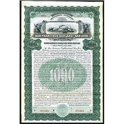 San Francisco, Oakland and San Jose Railway 1906 Specimen Bond.