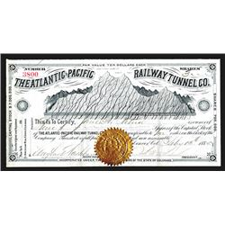 Atlantic-Pacific Railway Tunnel Co., 1885, Stock Certificate.
