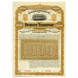 Denver Tramway Co. 1890 Specimen Bond.
