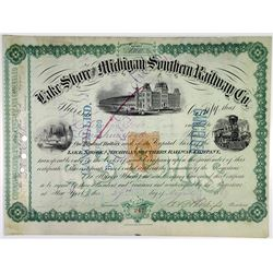 Lake Shore & Michigan Southern Railway Co., 1869 I/C Stock Certificate with Imprinted Revenue.