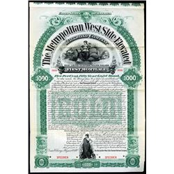 Metropolitan West Side Elevated Railroad Co., 1892 Specimen Bond.