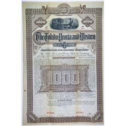 Toledo, Peoria & Western Railway Co., 1887 Unique Specimen Bond