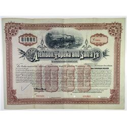 Atchison, Topeka and Santa Fe Railroad Co. 1889 Specimen Bond Rarity