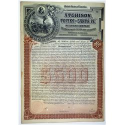 Atchison, Topeka and Santa Fe Railroad Co. 1892 Unique Gold Coupon Bond