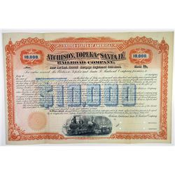 Atchison, Topeka and Santa Fe Railroad Co. 1892 Unique Specimen Registered Bond Rarity