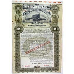 Atchison, Topeka and Santa Fe Railway Co. 1895 Specimen Bond Rarity