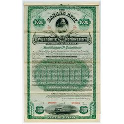 Kansas City, Wyandotte and Northwestern Railroad Co. 1888 $1000 Specimen Bond