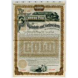 Kansas City, Wyandotte and Northwestern Railroad Co. 1889 $1000 Specimen Bond