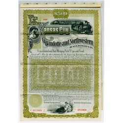 Kansas City, Wyandotte and Northwestern Railroad Co. 1889 $500 Specimen Bond