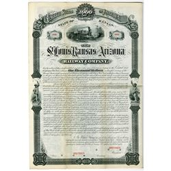 St. Louis, Kansas and Arizona Railway Co. 1880 Specimen Bond Rarity