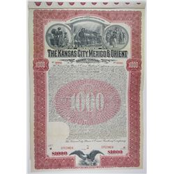 Kansas City, Mexico & Orient Railway Co. 1901 $1000 Specimen Bond Rarity