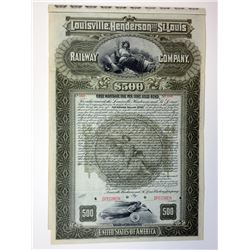 Louisville, Henderson and St. Louis Railway Co., 1896 Specimen Bond