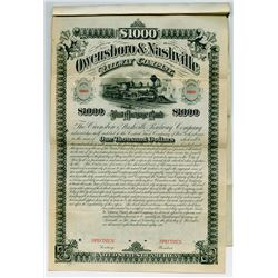 Owensboro & Nashville Railway Co. 1881 Specimen Bond