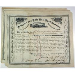 Baltimore and Ohio Railroad Co. Group of 25 Stock Certificates, ca.1870s