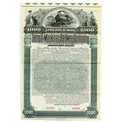 Detroit and Mackinac Railway Co., 1895 Specimen Bond
