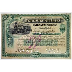 Toledo, Ann Arbor & North Michigan Railway Co., 1892 I/C Stock Certificate