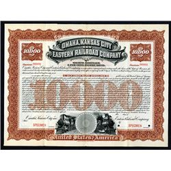 Omaha, Kansas City and Eastern Railroad Co. 1897. Specimen Bond.