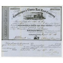 Canandaigua and Elmira Rail Road Co. 1853 Stock Certificate