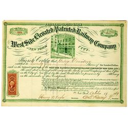 West Side Elevated (Patented) Railway Co., 1869 I/U Stock Certificate Signed by C.T. Harvey.