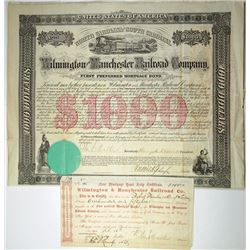 Wilmington and Manchester Railroad Co., 1866 & 1867 Pair of Issued Bonds