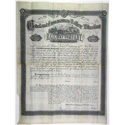 Cleveland, Tuscarawas Valley & Wheeling Railway Co., 1877 Specimen-Unissued Bond Rarity