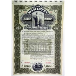 Marietta Railway Co., 1896 Specimen Bond Rarity