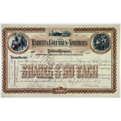 Marietta, Columbus & Northern Railroad Co. 1887 I/U Stock Certificate