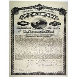 Ohio Southern Railroad Co. 1881 Specimen Bond Rarity