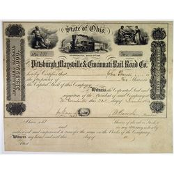 Pittsburgh, Maysville & Cincinnati Rail Road Co., 1854 I/U Stock Certificate
