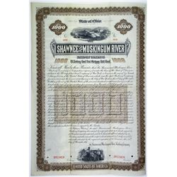 Shawnee and Muskingum River Railway Co. 1887 Specimen Bond Rarity