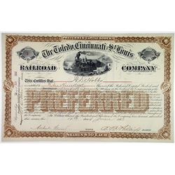 Toledo, Cincinnati & St. Louis Railroad Co., 1883 I/U Unlisted Preferred Stock Certificate