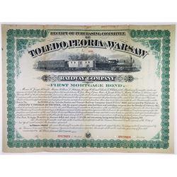 Toledo, Peoria & Warsaw Railway Co. 1878 Specimen Bond