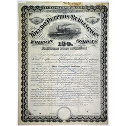 Toledo, Delphos & Burlington Railroad Co. 1879 Specimen Bond Rarity