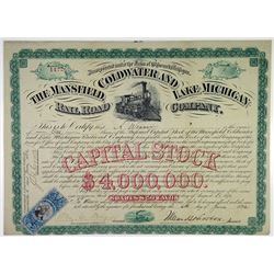 Mansfield, Coldwater & Lake Michigan Railroad Co., 1872 I/U Stock Certificate