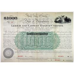 Lehigh and Eastern Railway Co. 1886 Specimen Bond