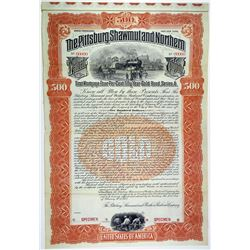 Pittsburg, Shawmut & Northern Railroad Co. 1902 Specimen Bond Pair.