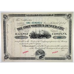 Fort Worth & Denver City Railway Co. 1880's Specimen Stock Certificate